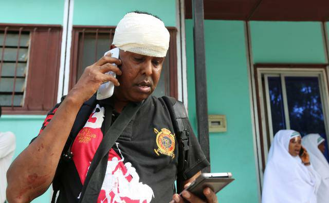 Seven Somali journalists were wounded in a secondary blast at the hotel (Credit: Abdi Guled / Facebook)
