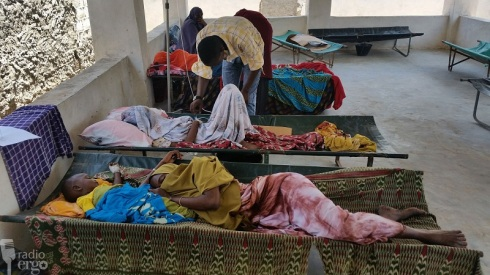 Diarrhoea victims at Kismayo hospital (Credit: Jama Jofane/ Radio Ergo )