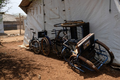 Wheelchairs waiting to be distributed by the Handicap International field office in the Juba Protection of Civilians3, March 2017. © Joe Van Eeckhout / Human Rights Watch