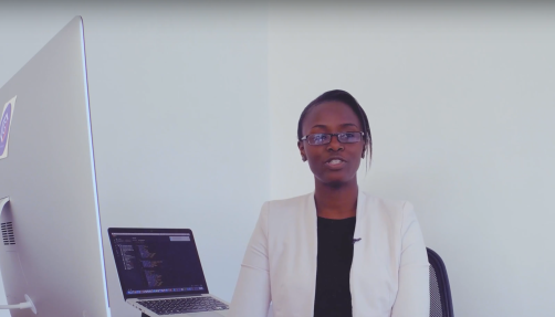 "Winnie Nyabuti is a backend engineer who moved to Addis Ababa from Kenya to attend the 6-months course at Gebeya training academy. She previously completed a masters in computer science. ""I'm glad to see that more women are actually beginning to realize that they equally belong in this field,"" she says. The 23-year old Kenyan took the API engineering track at the Addis Ababa academy."